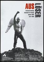 view A muscular young man wearing black latex trousers and angel s wings, standing on a mudheap with his arm raised and his fist clenched in a combative gesture; representing gay men in the fight against AIDS. Colour lithograph, 199-.