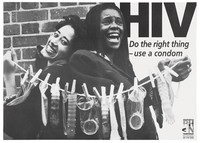 view Two black women hold a washing line to which condoms are pegged; advertising safe sex and AIDS prevention. Lithograph.