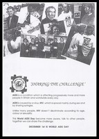 view People promoting World Aids Day with information about AIDS and HIV. Black and white photocopy.