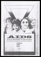 view Four women of different cultures appear before an upside down triangle to advertise the support group for Catholic women with AIDS. Photocopy after David, 1988.