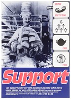 view A baker supports pies on his head while holding loaves and doughnuts; with four symbols of support (telephone, human pyramid, teapot, knife and fork); representing support for HIV positive people. Colour lithograph by Photofusion and Big-Active Limited for Mainliners, 1990/1995.