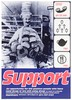 A baker supports pies on his head while holding loaves and doughnuts; with four symbols of support (telephone, human pyramid, teapot, knife and fork); representing support for HIV positive people. Colour lithograph by Photofusion and Big-Active Limited for Mainliners, 1990/1995.