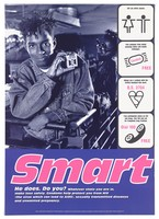 """view A style-conscious black man holds up a packet of condoms, with symbols (man and woman, condom, British standard kitemark, telephone handset) representing """"smart"""" ways to prevent AIDS. Colour lithograph by Photo Co-op, Glover/Hughes and Big-Active Ltd. for Mainliners, 1990/1995."""