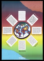 view The world is surrounded by eight blocks of text in different languages; an advertisement for the National Aids Helpline by the Liverpool Health Promotion Unit. Colour lithograph, 1992.