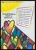 Series of graphic hearts with a block of text about HIV and AIDS; an advertisement for the National Aids Helpline by the Liverpool Health Promotion Service. Colour lithograph, 1997.