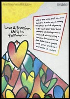 view Series of hearts with block of text about HIV and AIDS; an advertisement for the National Aids Helpline by the Liverpool Health Promotion Unit. Colour lithograph, 1992.