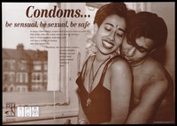 view An Asian couple embrace by a window; advertisement for the new female condom by the Black HIV/AIDS Network. Brown lithograph.