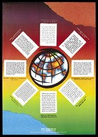 view A world globe is surrounded by eight blocks of text in different languages; an advertisement for the National Aids Helpline by the Liverpool Health Promotion Unit. Colour lithograph, 1992.