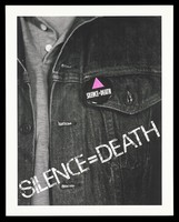 view A denim jacket with a badge bearing the letters 'silence=death'; warning about the need to be open about AIDS. Colour lithograph.