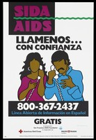 view A woman and a man on the telephone representing the AIDS Spanish Helpline; advertisement by the San Franciso AIDS Foundation. Colour lithograph, 1994.