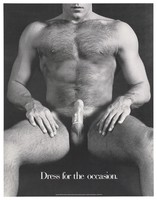 view A naked man wearing a condom; advertisement for safe sex by the San Francisco AIDS Foundation. Lithograph, 1988.