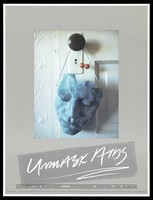 view A blue mask hangs from a door knob with the message 'Unmask AIDS'. Colour lithograph by Lin Renninger and Kristina Von Rubens, 1988.