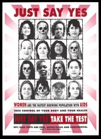 view Rows of the faces of women, some with death masks, representing women with AIDS; advertisment for free HIV/AIDS tests by the City of Los Angeles Department of Cultural Affairs. Colour lithograph by Kerr and Malley, 1992.