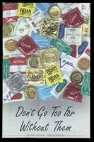 view A range of condoms; advertisement by De Anza College Health Services. Colour lithograph.