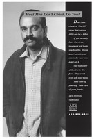 view An Indian man with a moustache in a checked shirt and dark jacket representing an advertisement for The Aids Health Project. Lithograph.