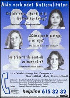 view People of different nationalities living in Germany ask a question about AIDS in their mother tongue (Vietnamese, Spanish, French); advertising the multilingual service of Berlin AIDS helpline. Colour lithograph, 199-.