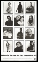 view Twelve photographs of people living with HIV representing an advertisement for early treatment of HIV by the San Francisco AIDS Foundation. Lithograph after Annie Leibovitz, 1993.