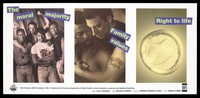 view A man within a group wearing a t-shirt with the logo 'safe sex', another man with a tattoo bearing the words 'no fear' with his arms around another, and a condom; advertisement for safe sex by the San Francisco AIDS Foundation. Lithograph by Scott Sidorsky and Michele Clement, 1992.