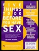 The number five in purple and yellow with a list of five things to do before you have sex; advertisement for Sunnye Sherman AIDS Education Services at the Whitman-Walker Clinic Inc., Washington by the DC Department of Human Services. Colour lithograph.