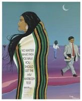 view An American Indian woman with long hair and a striped robe looks to the left in a purple landscape with other random figures walking in different directions; advertisement for the HIV antibody test by the American Indian Health Care Association. Colour lithograph after Ernie Whiteman, 1990.