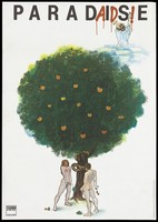 view Adam and Eve committing the primal sin; representing the origin of AIDS. Colour lithograph after Pavel Beneš, 1991.