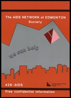 view Red skyline of Edmonton advertising the AIDS Network of Edmonton Society. Colour lithograph.