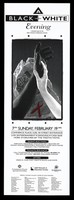 """view A woman's white arm touches the hand of a man's black arm with a red ribbon behind a crumpled newspaper representing an advertisement for a """"black and white"""" gala evening for the AIDS Network of Edmonton Society on 19 February 1995. Lithograph."""