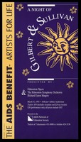 view A sun with stars representing an advertisement for a Gilbert and Sullivan evening presented by Edmonton Opera and The Edmonton Symphony Orchestra Richard Eaton Singers on March 31 1993; produced by Halkier and Dutton Design for the AIDS Network of Edmonton Society. Colour lithograph.