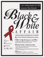 view A pinned red ribbon with details of a music and dinner benefit performance in aid of the AIDS Network of Edmonton Society on Sunday, January 30, 1994. Colour lithograph by Cheryl Anne Lieberman Graphics.