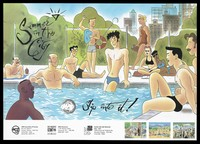 view A condom with gay men and women lounging around an inner-city swimming pool with three smaller illustrations of other inner-city meeting venues for gay people; advertisement for safe sex and condoms by the AIDS Committee of Toronto. Colour lithograph by Maurice Vellekoop, 1992.