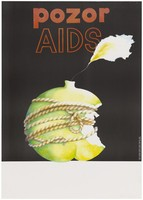 view An apple that has been bitten into is tied up with a knotted rope to prevent further bites; representing precautions against AIDS. Colour lithograph after R. Vlachová, 1993.