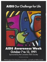 view Collage of parts of faces with a heart representing an advertisement for AIDS Awareness Week, October 7 to 13, 1991 by the Canadian AIDS Society. Colour lithograph by Joe Average.