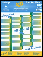 view Things you can do about HIV and AIDS; advertisement by The AIDS Network of Edmonton Society. Colour lithograph.