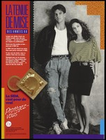 view A man and woman with their arms around each other as they lean against a wall with a condom representing an advertisement for safer sex 'dress code' for the '90's; Recto: English version; advertisement by the Canadian Public Health Association. Colour lithograph.