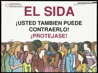 view People from different ethnic origins in Canada; advertising the Canadian Public Health Association AIDS Education and Awareness Program for Spanish speakers. Colour lithograph.