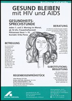view A young woman with lush hair resting her chin in her hand representing services provided for women by Berliner AIDS-Hilfe. Colour lithograph, 1996.