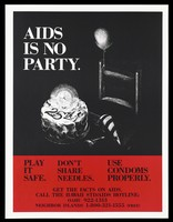 view An iced cake bearing the number '25th' is lit with a candle with a party hat and a balloon tied to a chair with the words 'AIDS is no party'; a warning to practice safe sex and use condoms with information on the AIDS Hotline in Hawaii. Colour lithograph.