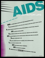 view A list of facts about AIDS by the Illinois Department of Public Health. Colour lithograph.