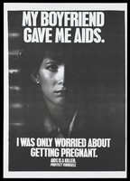 view A woman whose boyfriend gave her AIDS appears out of the dark with a warning to protect against AIDS. Photocopy.