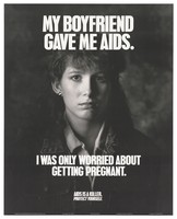 view A woman whose boyfriend gave her AIDS appears out of the dark with a warning to protect against AIDS. Lithograph by Gary Nolton.