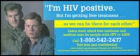 view An HIV positive man with his partner representing an advertisement for free medicine and medical care for people with HIV or AIDS as part of the AIDS Drug Assistance Program by the New York State Health Department and New York City. Colour lithograph.