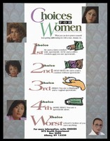 view Five women with a list of five increasingly risky choices for women to protect against AIDS by the New York State Health Department. Colour lithograph.