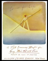 view A figure with a heart as a head, walking a bending tightrope while holding a long pole; advertising the tenth anniversary benefit for the Gay Men's Health Crisis. Colour offset lithograph by J.M. Folon, 1992.