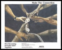 view The arms of black and white men reach out to touch a phone; an advertisement for weekly phone groups for gay men by the group Aries to help promote safer sex to prevent AIDS. Colour lithograph by Woodfin, 1992.
