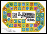 view World Health Organisation (WHO) buildings in the cities of Manila, Washington, Lyon, Copenhagen, Alexandria, Geneva, New Delhi and Brazzaville surrounded by a series of numbered images interspersed with the WHO logo and the words 'AIDS Stop SIDA' in the shape of a board game; an advertisement by the World Health Organisation. Colour lithograph by G. Padey and G. Auberson.