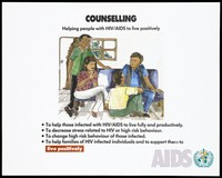 view A woman and a man sitting on a sofa with a man sitting on the floor and another standing representing counselling for those with HIV/AIDS; advertisement by the World Health Organization for living positively with HIV. Colour lithograph, ca. 1995.