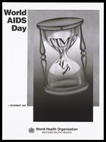 """view An egg-timer bearing the words """"Time to Act"""" representing an advertisement for World AIDS Day, 1 December 1993 for the Western Pacific Region of the World Health Organization. Lithograph, 1993."""