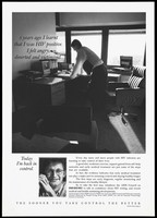 view A man leans against a desk by a window representing a man who is HIV positive with information on information about HIV and HIV testing by the AIDS Council of New South Wales, Victorian AIDS Council and Wellcome Australia Limited. Lithograph.