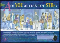 view A line of people stand along a shopping street representing a warning about the risk of STD's by the AIDS STD Unit, Health Department, Victoria. Colour lithograph, July 1992.