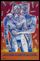 view A couple with square heads bearing the letters 'H', 'I', 'V', one with a positive sign, the other with a negative sign with the words 'yes' written across their bodies and numerous male names surrounding them; an advertisement for supporting those with HIV by the AIDS Council of New South Wales. Colour lithograph by David McDiarmid, 1992.